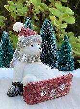 Mini FAIRY GARDEN ~ Large North Pole CHRISTMAS Snowboarding Polar Bear Figurine
