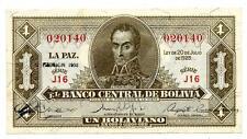BOLIVIA NOTE 1 BOLIVIANO LAW 1928-1951 SERIAL J16 P 128b CRISP UNC