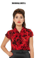 VOODOO VIXEN RED WOMEN ROCKABILLY RETRO VINTAGE 50s PINUP TOP SHIRT TPA1729