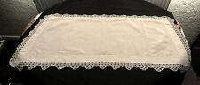 VINTAGE FINE LINEN CREAM TRAY CLOTH WITH WHITE CROCHET LACE EDGING