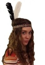 Red Indian Woven Head Band With Two Feathers
