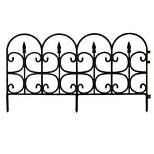 12 Pieces Garden Picket Fence Landscape Decor Border Panels Resin Outdoor, Black