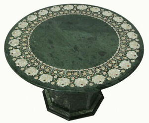 """36"""" Green Marble Table Top Pietra Dura Work Handmade With Marble Stand"""