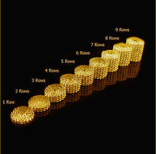 1 yard Many Rows Silver/Gold Bling Diamond Mesh Rhinestone Crystal Wraps Ribbon