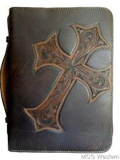 Nocona Western Bible Leather Cover Tooled Diagonal Cross Zippered Brown 0653002