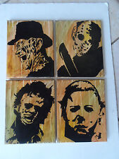 Horror Movie Icon Painted Canvas Wall Hangings / Wall Art - Set of 4