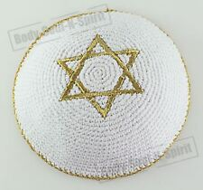 Gold Star of David Knitted Kippah Yarmulke Tribal Jewish Yamaka Kippa Israel
