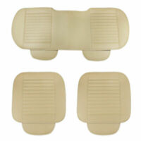 Beige Car Front & Rear Back Seat Cover PU Leather Breathable Protector Pads HOT