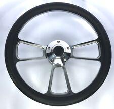 """14"""" Polished Billet Steering Wheel (Black Leather Half Wrap Grip & Horn Button)"""