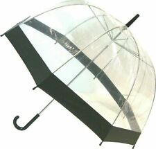 SOAKE Clear Dome Umbrella with Walking Stick Handle with Black Trim Unisex