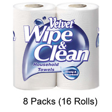 Velvet Wipe & Clean Household Towels Strong & Absorbent Kitchen Roll Tissue Roll