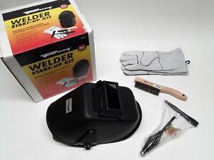 FORNEY 377 WELDER START UP KIT flip front helmet,leather gloves,hammer,brush