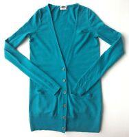 Women's Wallace Aqua Blue 100% Merino Wool Cardigan Sweater-Sz XS