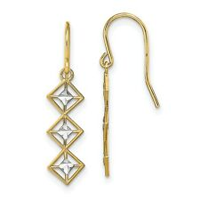 Fancy Dangle Wire Earrings In Real 14k Yellow Two Tone Gold 0.96gr
