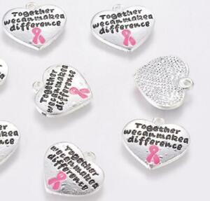 2 CHARITY BREAST CANCER RIBBON HEART CHARMS PENDANTS TIBETAN SILVER 18mm C212