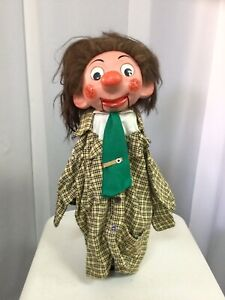Ventriloquist Doll On Stick-Big Nose-Wild Hair-Moving Eyes-Rosy Cheeks-Green Tie