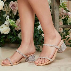 Women Sandals Slingbacks Peep Toe Mid Block Heel Rhinestone Strap Slippers Comfy