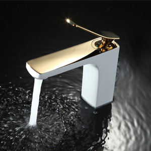 Bathroom Faucet Chrome/ Gold White Painting Faucet Basin Sink Mixer faucet Brass
