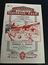 More details for liverpool fc v arsenal 1952/1953 mint condition football programme lfc afc