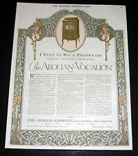 1920 OLD MAGAZINE PRINT AD, AEOLIAN-VOCALION PHONOGRAPH, IS INFINITELY GREATER!