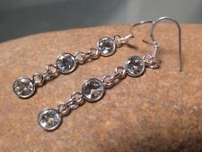 925 sterling silver triple CUT BLUE TOPAZ GEMSTONE earrings.Gift bag.