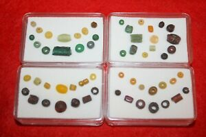 Roman Empire assorted genuine jewellery 14 beads in display case nice colour