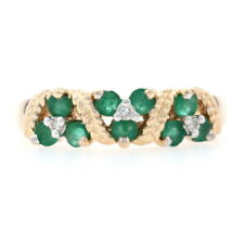 Yellow Gold Emerald & Diamond Cluster Band - 14k Round .48ctw Floral Rope Ring