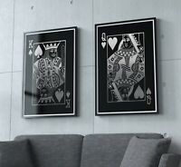 Pair of Silver Effect Playing Card Prints, Playing card Posters, Wall Art