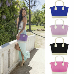 Women Faux Patent Leather Tote Ladies Fashion Handbag Anti Theft Zipper Satchel