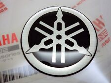 YAMAHA GENUINE 40mm TUNING FORK SILVER & BLACK GEL DECAL STICKER BADGE *UK STOCK