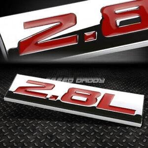 METAL EMBLEM CAR BUMPER TRUNK FENDER DECAL LOGO BADGE CHROME RED 2.8L 2.8 L