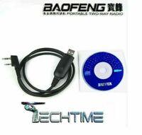 CAVETTO DI PROGRAMMAZIONE CAVO USB + CD PER BAOFENG UV-5R GT3 WOUXUN KENWOOD ECC