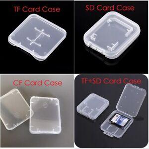 10Pcs TF SD CF Memory Card Case Holder Box Storage Hard Plastic Transparent new