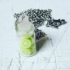 Unique LIME SLICES NECKLACE handcrafted GLASS JAR food jewellery MINIATURE fruit