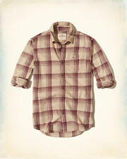 NEW Men's Hollister by Abercrombie & Fitch Plaid Flannel Shirt Cream Large