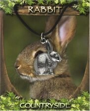 Colgante de conejo en bien Inglés Estaño en un cordón encerado