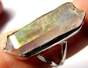 Engel Opal Aura Quarz-Ring roh, 925er Sil., Gr. 56