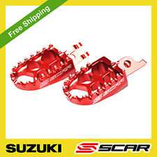 FOOTPEGS EVO SUZUKI RM85 RM 85 RED FOOT PEGS SCAR