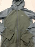 Womens Nike Therma Fit Gray Green Full Zip Yoga Hoodie Jacket Sweat Shirt Sz XS