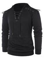 Punk Rave Mens Hooded Top Black Gothic Dieselpunk Punk Dystopian Lace Up Hoodie