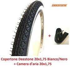 "1 Copertone + Camera Deestone 20x1,75 Bianco/Nero per Bici 20"" MTB Mountain Bike"