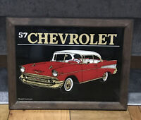 """Vintage 1957 Chevrolet Carnival Glass Mirror Wood Frame 18""""x 14"""" Red Car"""
