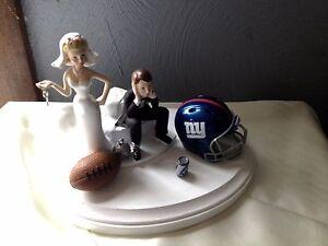 New York Giants Cake Topper Bride Groom Wedding day Funny Football Theme