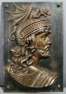 19thC Antique VICTORIAN Cast Iron WINGED DRAGON Helmet WARRIOR BUST Wall PLAQUE