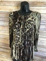 CAbi Long Sleeve Shirt Size Small Womens Sheer Animal Print Blouse Button Down
