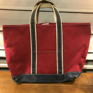"""Used Vintage LL Bean Tote Bag Red Navy Blue Boat And Tote 21"""" x 15"""" Canvas Large"""