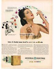 1945 GE General Electric FM Radio Console Dorothy Lamour Vtg Print Ad
