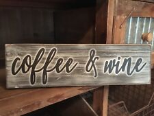 Rustic Wood Sign COFFEE AND WINE Coffee Bar Wine Bar Home Decor Prim Kitchen