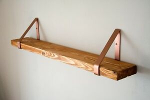 Teak Rustic Solid Wood Wall Shelf with Copper Triangle Brackets - 14.5cm D