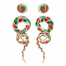 Glass Spiral Tapers Kit with Plugs 4 Pieces Candy Cane Swirl glass plugs 4G-14mm